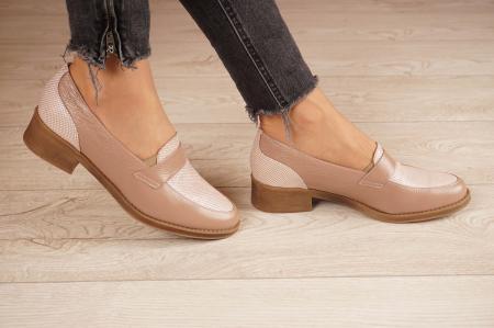 Pantofi dama din piele naturala bej MSPD58120-202