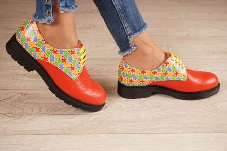 Pantofi dama din piele naturala rosie MSPD53017-14-202