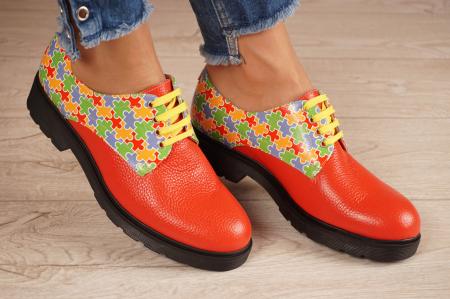 Pantofi dama din piele naturala rosie MSPD53017-14-200