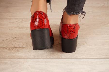 Pantofi dama din piele naturala rosie MSPD58620-20 [4]