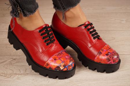 Pantofi dama din piele naturala rosie MSPD59016-4-20 [0]