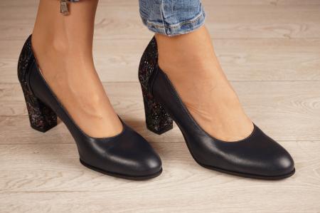Pantofi dama din piele naturala bleumaren MSPD58119-2-200