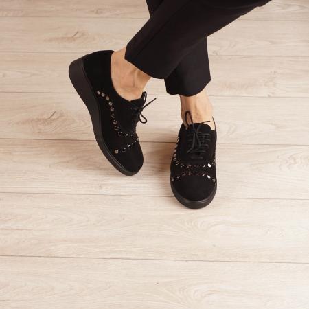 Pantofi dama din piele naturala camoscio negru MSPD56520-1-20 [1]
