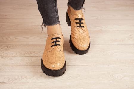 Pantofi dama din piele naturala croco bej MSPD55320-21 [3]