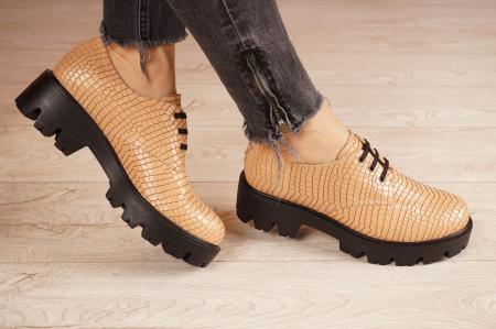 Pantofi dama din piele naturala croco bej MSPD55320-21 [1]