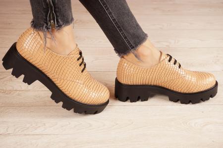 Pantofi dama din piele naturala croco bej MSPD55320-21 [2]