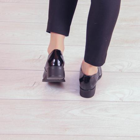 Pantofi dama din piele naturala croco lac negru MSPD52420-203