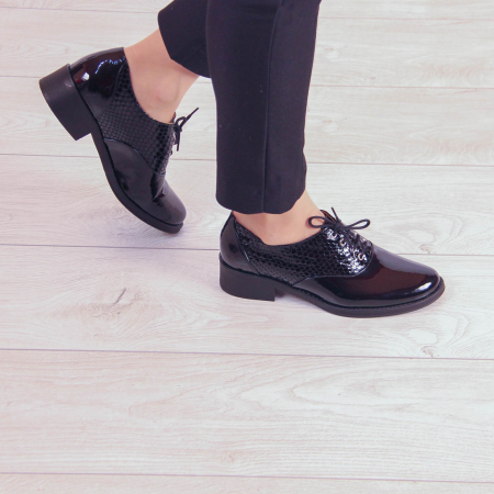 Pantofi dama din piele naturala croco lac negru MSPD52420-200