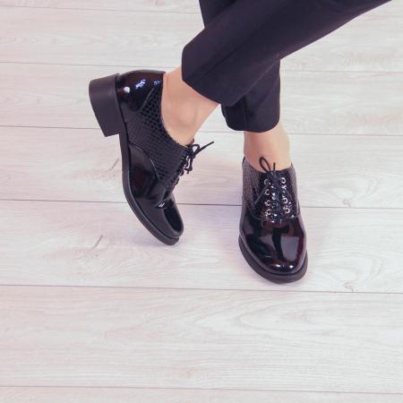 Pantofi dama din piele naturala croco lac negru MSPD52420-201