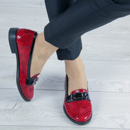 Pantofi dama din piele naturala croco lac rosu MSPD54420-201