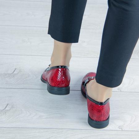 Pantofi dama din piele naturala croco lac rosu MSPD54420-202
