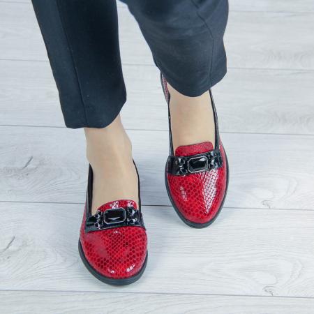 Pantofi dama din piele naturala croco lac rosu MSPD54420-200