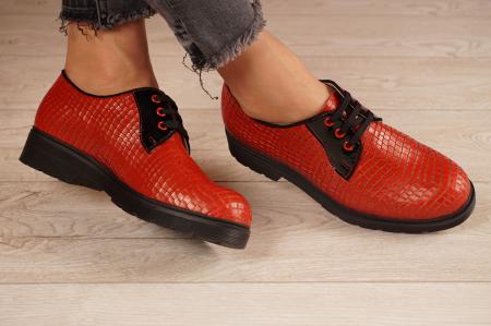 Pantofi dama din piele naturala croco rosu MSPD55319-21 [1]