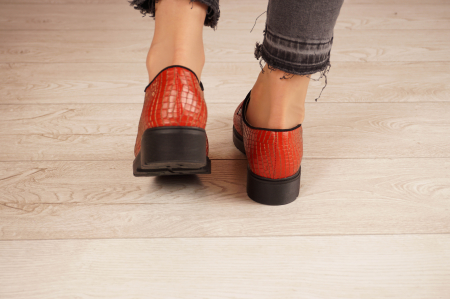 Pantofi dama din piele naturala croco rosu MSPD55319-21 [4]