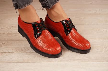 Pantofi dama din piele naturala croco rosu MSPD55319-21 [0]