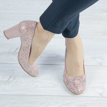 Pantofi dama din piele naturala cu imprimeu MSPD190-23-20 [0]