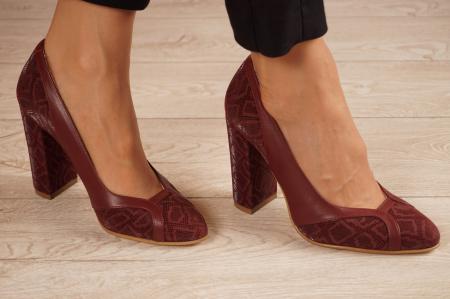 Pantofi dama din piele naturala cu imprimeu MSPD50920-1-20 [0]