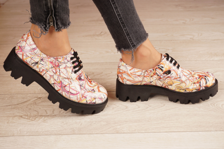 Pantofi dama din piele naturala cu imprimeu MSPD53017-10-202