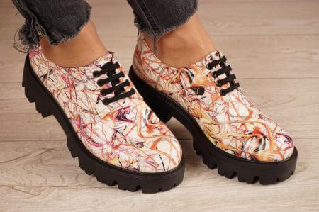 Pantofi dama din piele naturala cu imprimeu MSPD53017-10-200