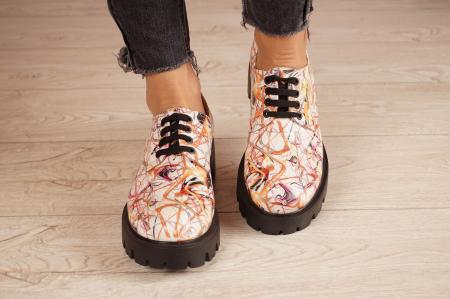 Pantofi dama din piele naturala cu imprimeu MSPD53017-10-203