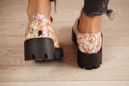 Pantofi dama din piele naturala cu imprimeu MSPD53017-10-204