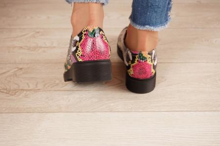 Pantofi dama din piele naturala cu imprimeu MSPD53017-12-204