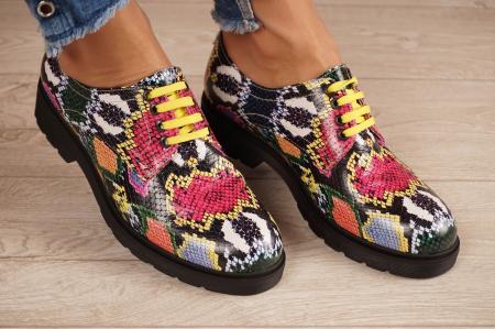 Pantofi dama din piele naturala cu imprimeu MSPD53017-12-200