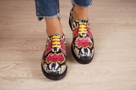 Pantofi dama din piele naturala cu imprimeu MSPD53017-12-203