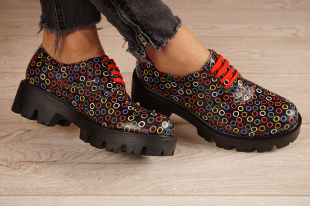 Pantofi dama din piele naturala cu imprimeu MSPD53017-13-201
