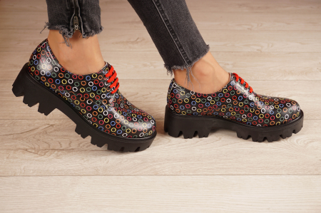 Pantofi dama din piele naturala cu imprimeu MSPD53017-13-202