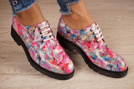 Pantofi dama din piele naturala cu imprimeu MSPD53017-15-200