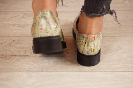 Pantofi dama din piele naturala cu imprimeu MSPD53017-4-204