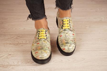 Pantofi dama din piele naturala cu imprimeu MSPD53017-4-203