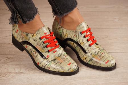 Pantofi dama din piele naturala cu imprimeu MSPD54020-1-200