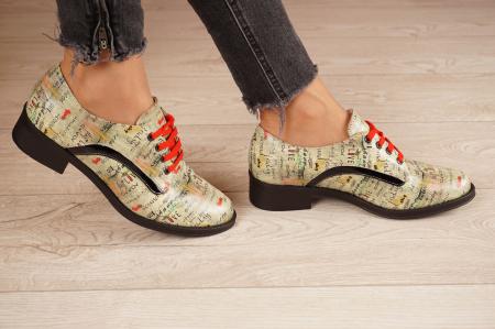 Pantofi dama din piele naturala cu imprimeu MSPD54020-1-202