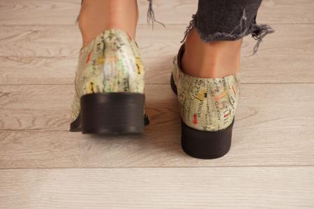 Pantofi dama din piele naturala cu imprimeu MSPD54020-1-204