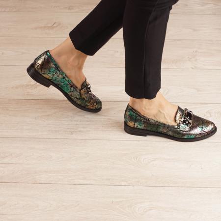 Pantofi dama din piele naturala cu imprimeu MSPD54420-1-200