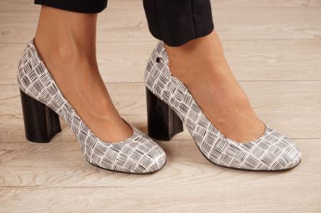 Pantofi dama din piele naturala cu imprimeu MSPD56820-2-20 [0]