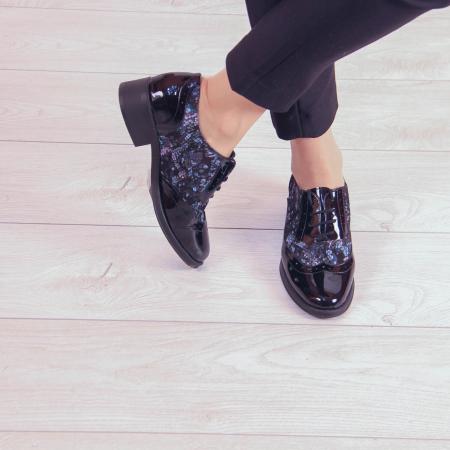 Pantofi dama din piele naturala cu imprimeu MSPD57218-2-201