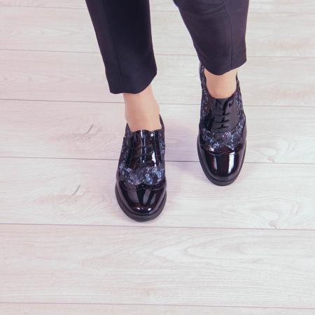 Pantofi dama din piele naturala cu imprimeu MSPD57218-2-202