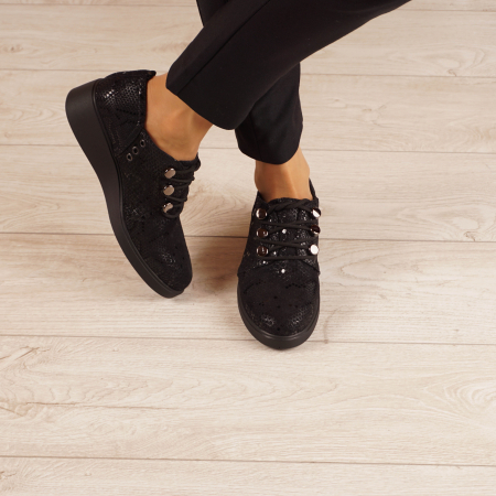 Pantofi dama din piele naturala cu imprimeu MSPD57520-201