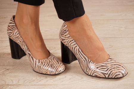 Pantofi dama din piele naturala cu imprimeu MSPD59620-20 [0]