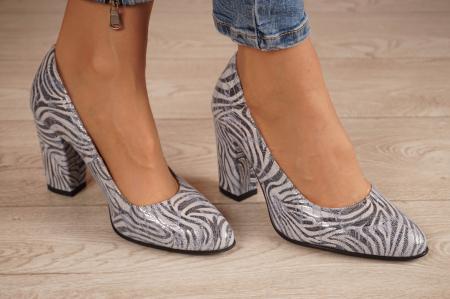 Pantofi dama din piele naturala cu imprimeu MSPD799-5-20 [0]