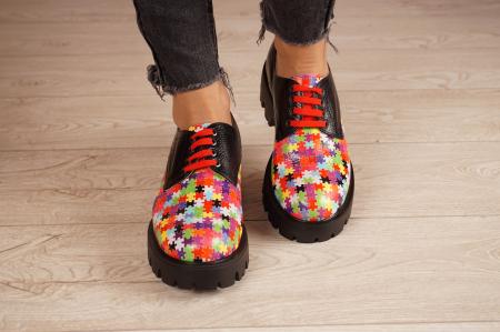 Pantofi dama din piele naturala cu imprimeu puzzle MSPD53017-7-203