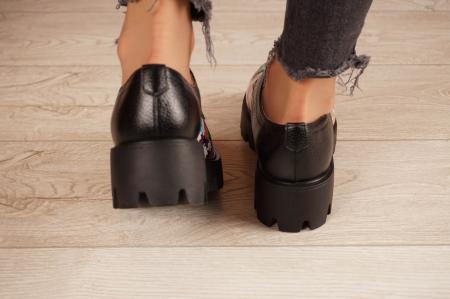 Pantofi dama din piele naturala cu imprimeu puzzle MSPD53017-7-204