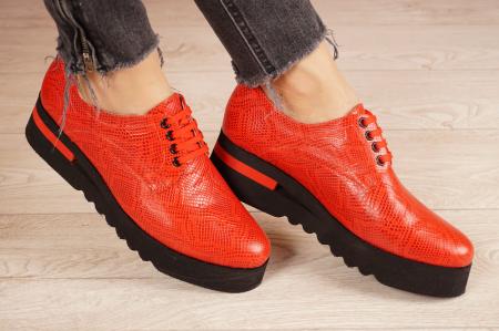 Pantofi dama din piele naturala cu imprimeu rosu MSPD53017-3-21 [0]
