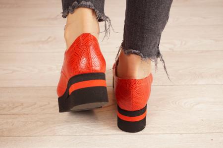 Pantofi dama din piele naturala cu imprimeu rosu MSPD53017-3-21 [4]