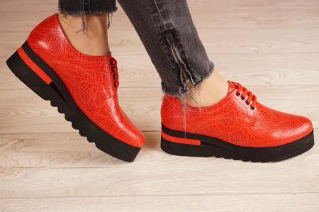 Pantofi dama din piele naturala cu imprimeu rosu MSPD53017-3-21 [2]