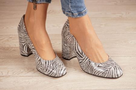 Pantofi dama din piele naturala cu imprimeu zebra MSPD56820-1-20 [0]