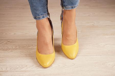Pantofi dama din piele naturala galbena MSPD50320-1-20 [2]